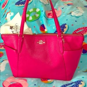 Coach Ava II Pebble Leather Pink Ruby